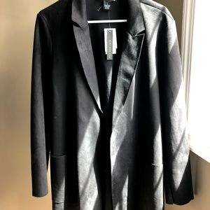 Faux Suede/Leather Thin Black Blazer